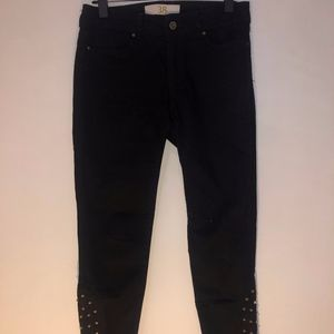 Zara Black Jeans With Studded Details Size 8